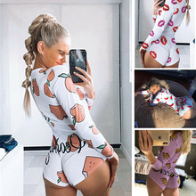 Sexy Women Bodysuit Long Sleeve Deep V Neck Bodycon Stretch Leotard Peachy Printed Button Short Romp