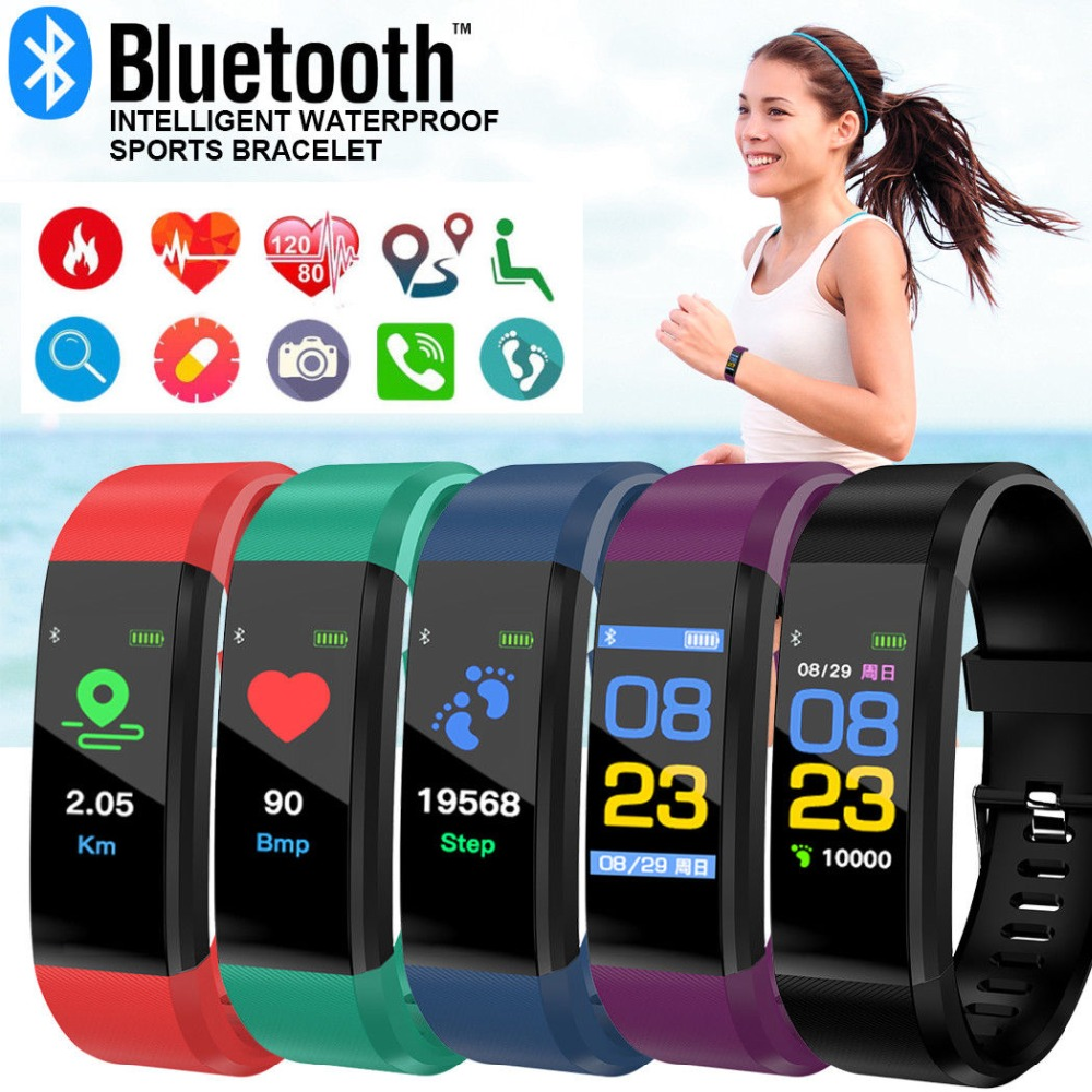 Mens' Watches Color Screen Smart Bracelet Men Women Sports Watch Fitness Tracker Heart Rate Pedometer Smart Band For Male Clock