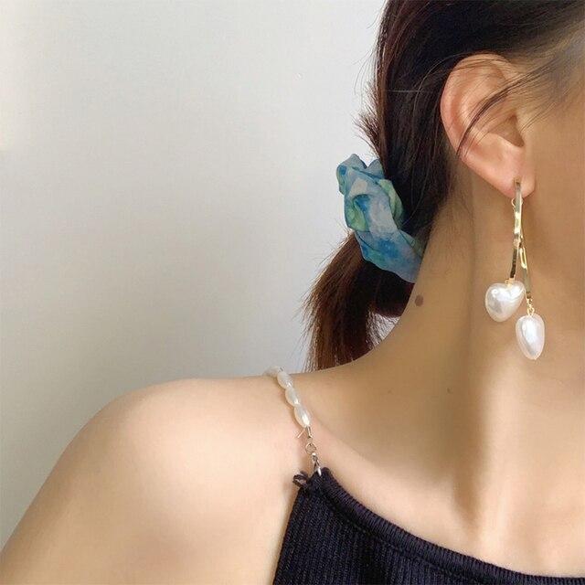New Boho White Imitation Pearl Round Circle Hoop Earrings Women Gold Color Big Earings Korean Jewelry Brincos Statement Earrings 6