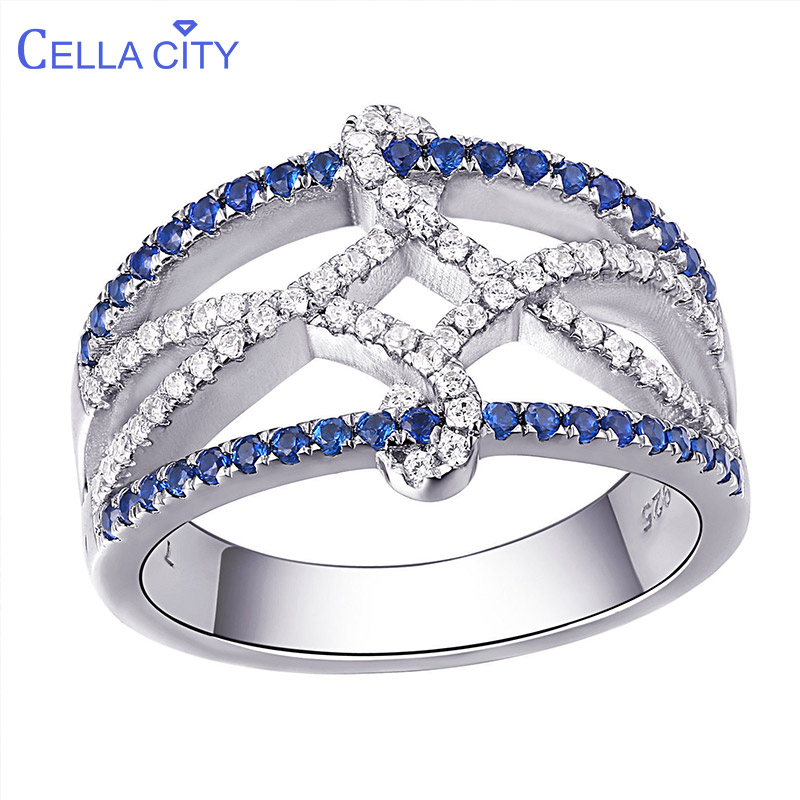 Cellacity Silver 925 Ring Women Jewelry With Shiny Sapphire Gemstones Special Style Female Engagement Wholesale Gift