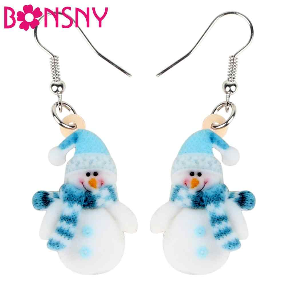 Bonsny Acrylic Sweet Christmas Blue Scarf Snowman Earrings Fashion Jewelry Women Girls Kids New Accessories Festival Decorations