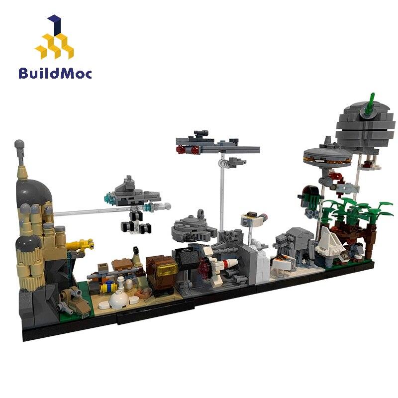 Конструктор Звездный фильм город Skyline замок архитектура MOC тысячелетний космический корабль Разрушитель Летающая модель строительные блок...