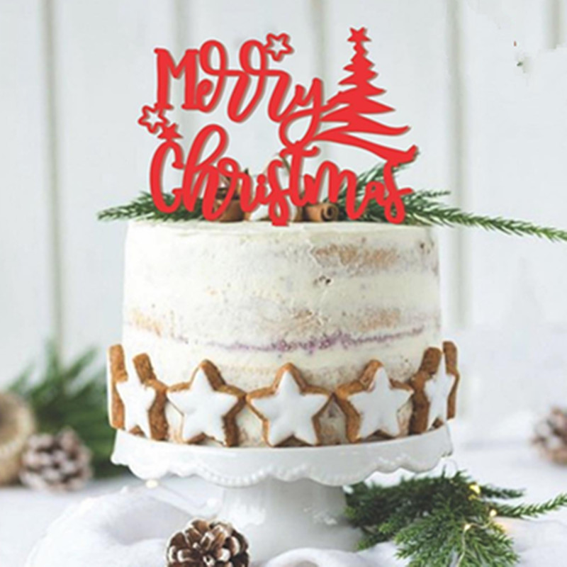 Merry Christmas Cake Topper Letters Cupcake Topper Party Christmas Decorations