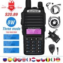 Yüksek 8W Baofeng UV 82 Walkie Talkie UV 82 avcılık taşınabilir CB Ham radyo 10km çift bant VHF UHF alıcı UV82 iki yönlü telsiz