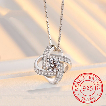 Lekani New Arrivals 925 Sterling Silver Crystal Clover Necklaces Pendant Hot Sale Pure Silver Jewelry For Women image