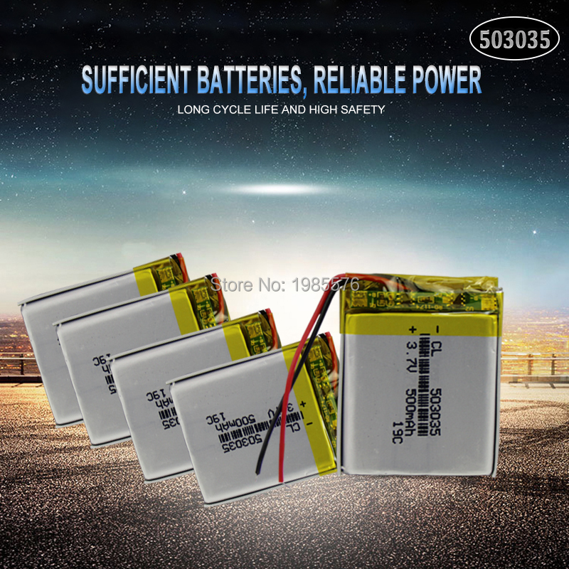 <font><b>3.7V</b></font> <font><b>500mAh</b></font> <font><b>503035</b></font> lithium polymer lipo rechargeable <font><b>battery</b></font> for GPS MP4 DVD bluetooth headphone speaker Navigation phone image