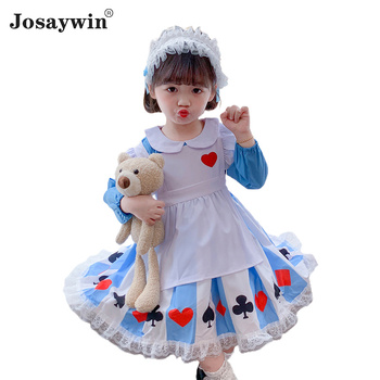 Kids Dress for Girls Baby Autumn Winter Print Lolita Girl kawaii Cute Wedding Dress Girl Ball Gown 2020 Princess Party Vestidos autumn winter girls princess mini dress kids baby girls party wedding pageant long sleeve sweater dresses cute ball kids costume