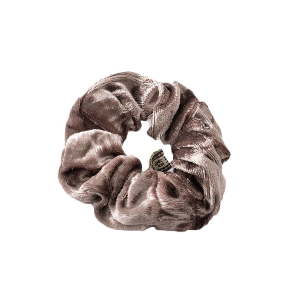 1 шт., женское эластичное кольцо для волос, зимние мягкие бархатные резинки, резинки для волос, милые одноцветные аксессуары для волос, держатель для конского хвоста - Цвет: light coffee