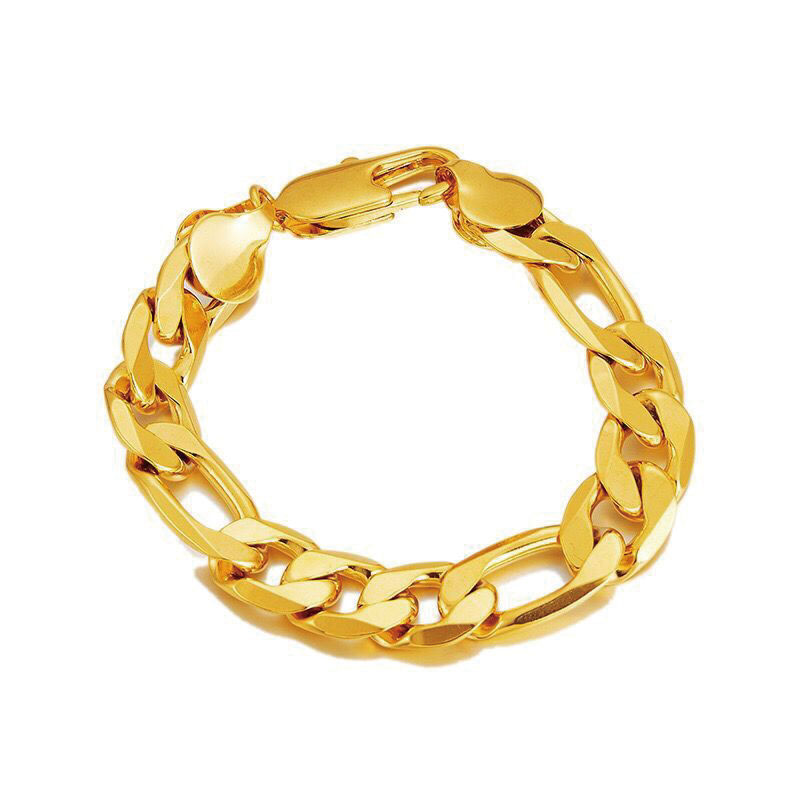 Buy XP Jewelry -- ( 19 cm x 12 mm ) Heavy NK 3:1 Figaro Bracelets For Men 24 k Yellow Gold Color Fashion Jewelry for only 3.7 USD