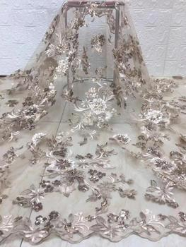 2020 Latest French Tulle Lace Fabric High Quality Lace African Women Party Dress Embroidery Sequin Aso Ebi Nigerian Lace Fabric