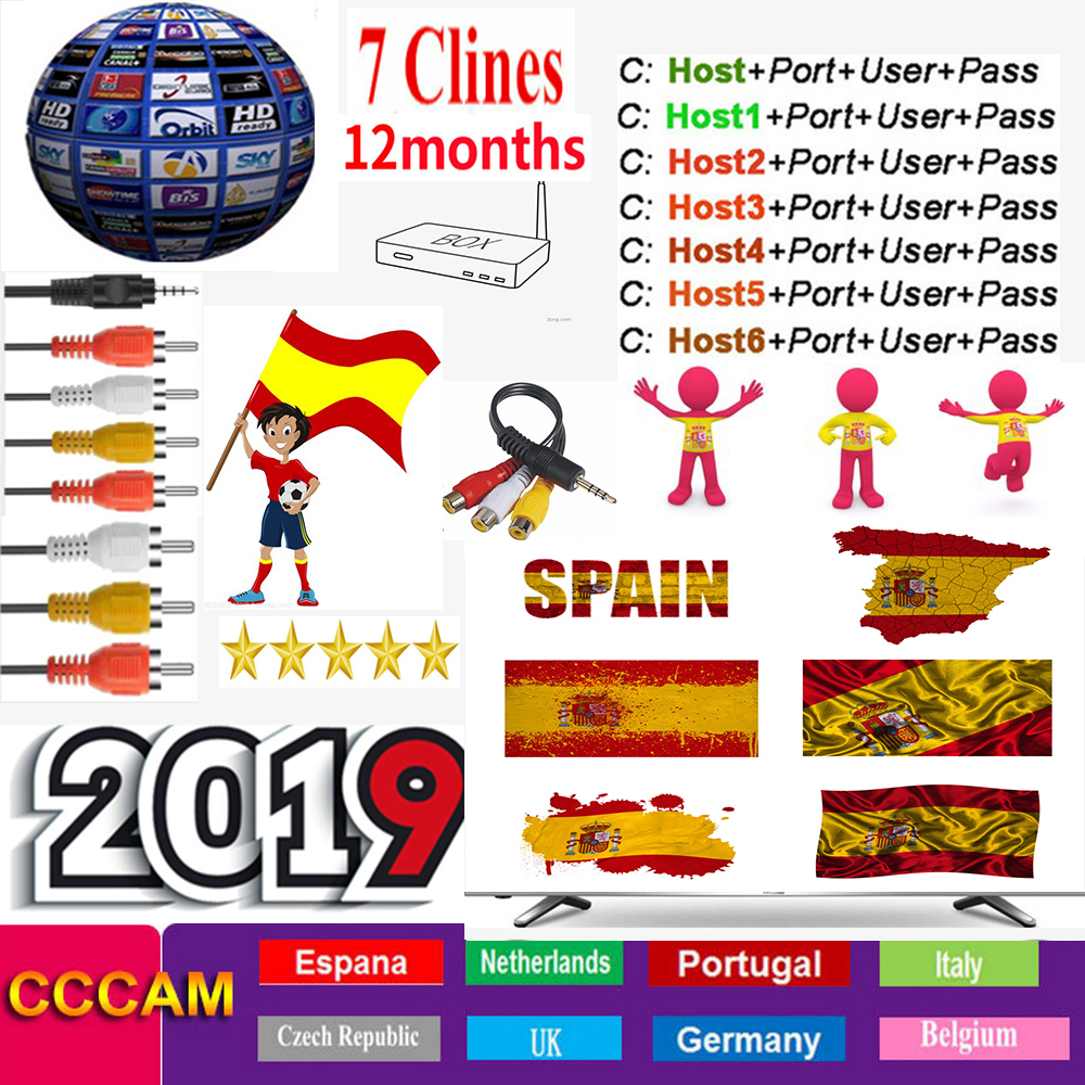 Cccam Europa Server 1Year Spain Portugal Germany Poland Satellite Tv Receiver 1-7Clines For DVB-S2 X800 X800S V7  V7s V8 Nova V9