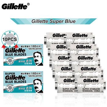 Gillette Super niebieski maszynka do golenia ostrze dla mężczyzn żyletki ze stali nierdzewnej dla tradycyjnej starej wieży 10 sztuk Hot tanie i dobre opinie CN (pochodzenie) 10pcs Gillette Blue Blades 2 Box Razor Blade Steel Manural Gillette Super Blue Shaving Razor Blades For men shaving