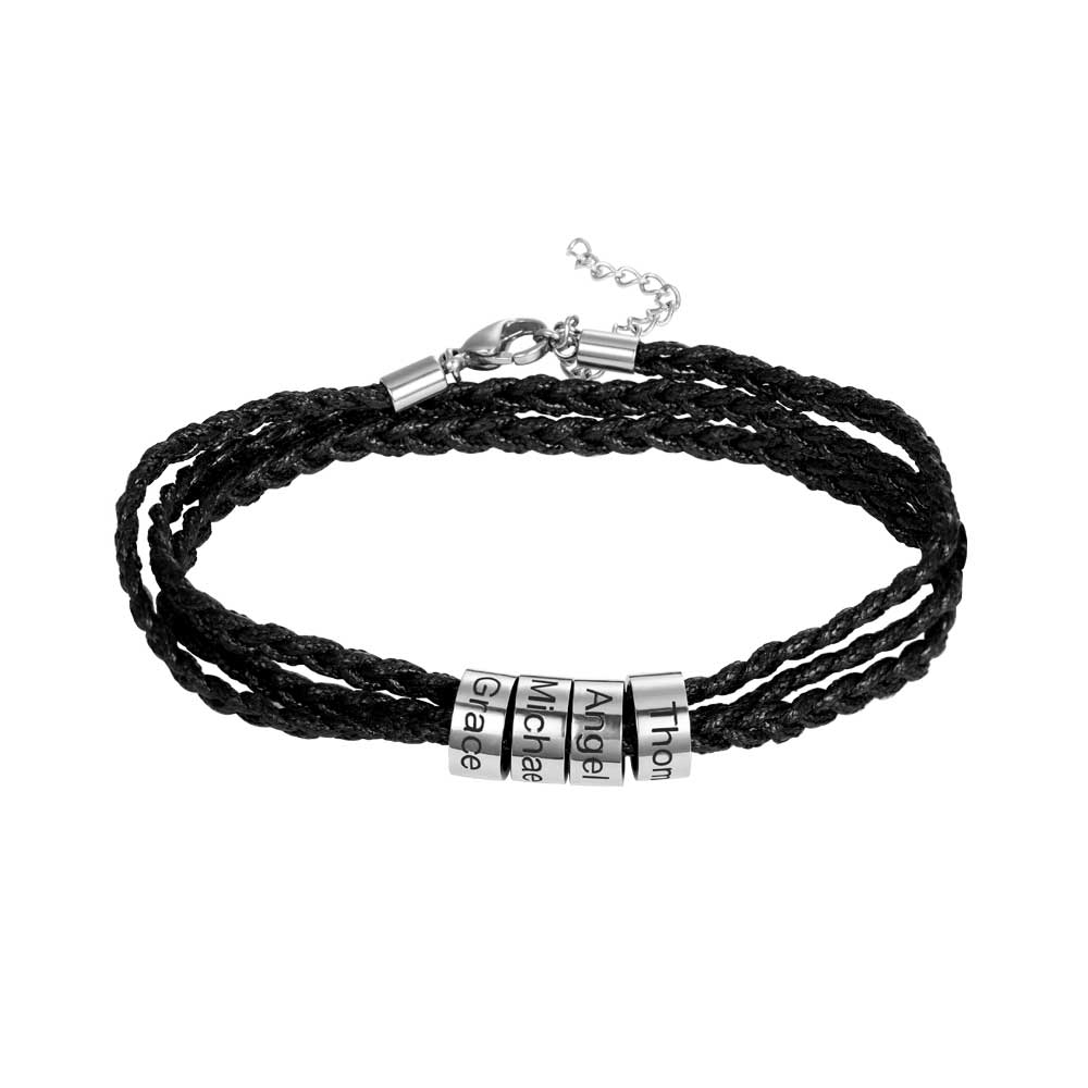 Sweey Wholesale Personalized Men Bracelet with Beads Stainless steel Best Father's Day Gift Fashion Unique Gift for Dad