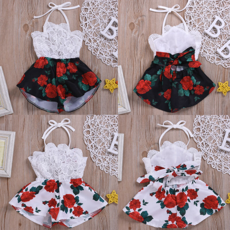 Summer 0-3Y Infant Baby Girl Romper Sleeveless Belt Lace Flowers Print Jumpsuit Sunsuit Outfits Clothes