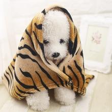 Pet Dog Blanket Creative Woolen Tiger Pattern Soft Cat Bed Cover Throw Flannel Blankets 2 Sizes Puppy Warm Sleeping Mats