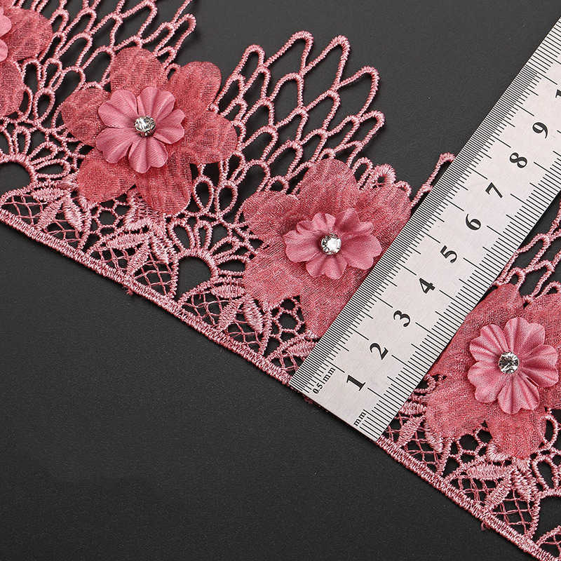 1yard 9cm rhinestone boncuklu 3D çiçek işlemeli dantel kenar Trim şerit DIY kumaş düğün konfeksiyon dikiş zanaat ev dekorasyon