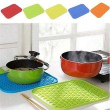Suporte de silicone esteira de cozinha calor antiderrapante resistente trivet pote bandeja straightener isolamento esteiras com cores ricas