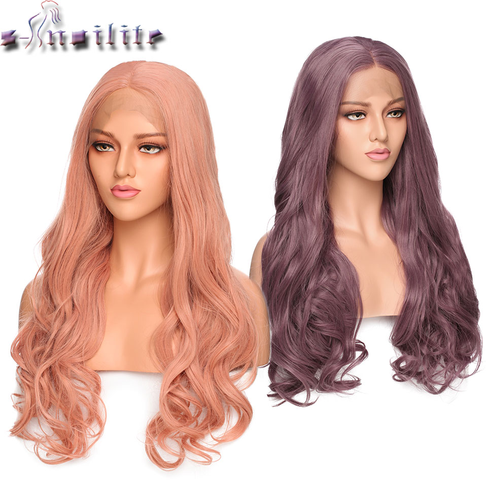 S-noilite 24inch 12.5*3 Free Lace Front Wig Long Pink Purple Platium Blonde Synthetic Wigs For Women Long Wavy Cosplay Wigs Hair