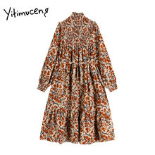 Yitimuceng Cotton and Linen Woman Dress with Belt Vintage Floral Lantern Long Sleeve