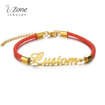 UZone Personalized Custom Name Bracelet Adjustable Stainless Steel Letter Name Bracelet Black Red Rope Bangle For Women Men Gift natural black custom name lava