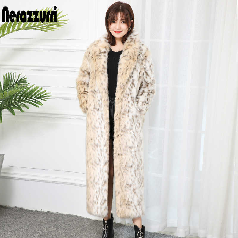 Nerazzurri winter fluffy leopard faux fur coat label luxury long women fashion warm oversized plus size leopard print streetwear