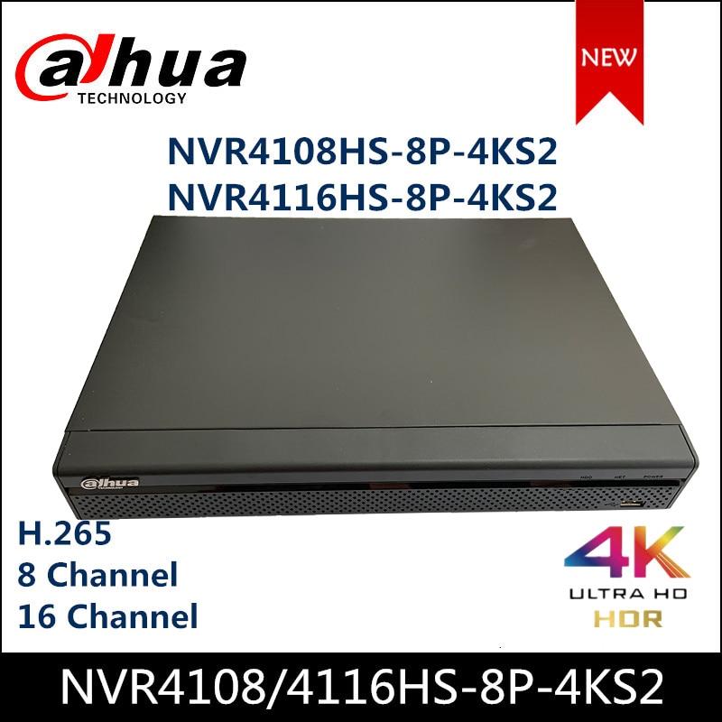 Dahua POE NVR NVR4108HS-8P-4KS2 NVR4116HS-8P-4KS2 8/16 canaux Compact 1U 8PoE 4K & H.265 Lite enregistreur vidéo réseau