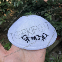 Customized, linen jewish wedding kippot, personalized kipot, bar mitzva, skull caps, jewish yarmulke