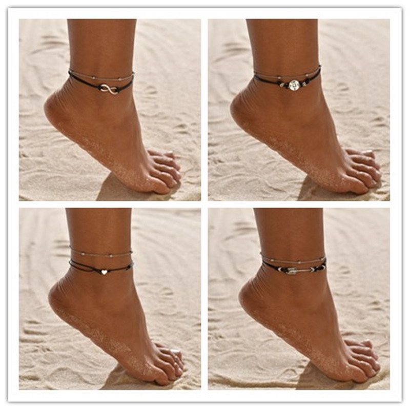YADA Vintage double Layer Anklets Bracelet for Women Foot Accessories Beach Barefoot Sandals Silver color star Ankle AT200074