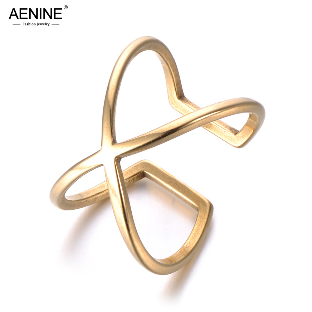 AENINE New Trendy Hollow X Shapae Anniversary Rings Gold Color Stainless Steel Wedding Ring Jewelry For Women Anillo R18062