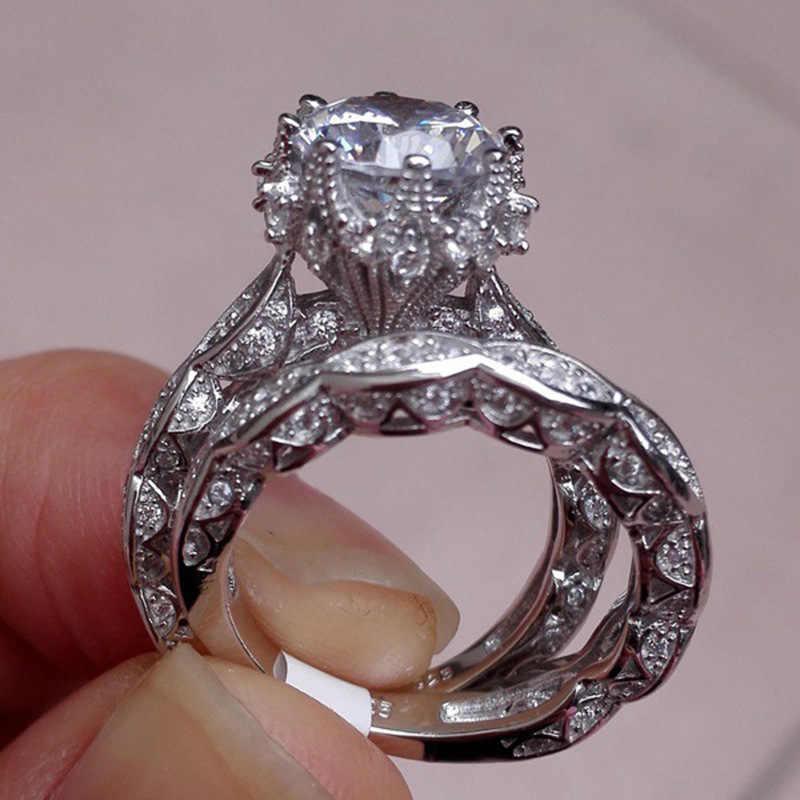 แหวนเงิน 925 เครื่องประดับสแตนเลสแฟลชเจาะรอบหมั้นสองชุดแหวนเครื่องประดับของขวัญผู้หญิง B2484b2601