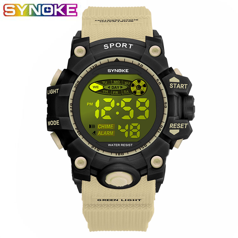 SYNOKE Khaki Kids Digital Wrist Watch Sports Led Luminous Alarm Week Clocks Stop Watch Boys Students Children Military Watch
