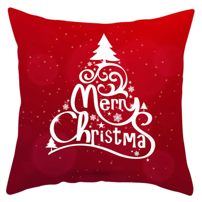 Buon Natale Cuscino Custodie Santa Elk Stampato Coperture Per Cuscini Divano Fodere Per Cuscini Custodie Di Natale Decorazione Per La Casa 45x45cm