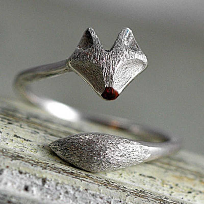 VINTAGE แกะสลัก Fox Skull Cat แหวนผู้หญิงผู้ชาย Boho Gothic Dainty Knuckle Minimalist แหวนเครื่องประดับหมั้น O5C126