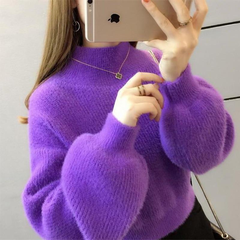 Women Winter Water Velvet Korean Warm Turtleneck Sweater Mohair Female Sweater Lantern Sleeve Casual Solid Color Pullover