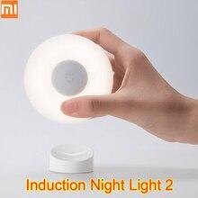 Orijinal Xiaomi Mijia Led indüksiyon gece lambası 2 lambası ayarlanabilir parlaklık kızılötesi akıllı insan vücudu sensörü manyetik tabanı ile