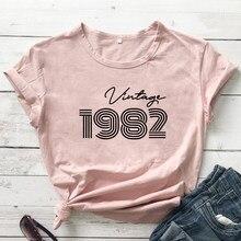 Camiseta Vintage de algodón puro 1982 para mujer, camiseta divertida Unisex, regalo de cumpleaños personalizado, camisetas con gráfico Original de alta calidad, 1982