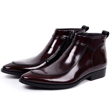 Men Black Brown Chelsea Boots Fashion Pointed Toe Genuine Leather Dress Boots Shoes High Top Male Short Ankle Boots цена 2017