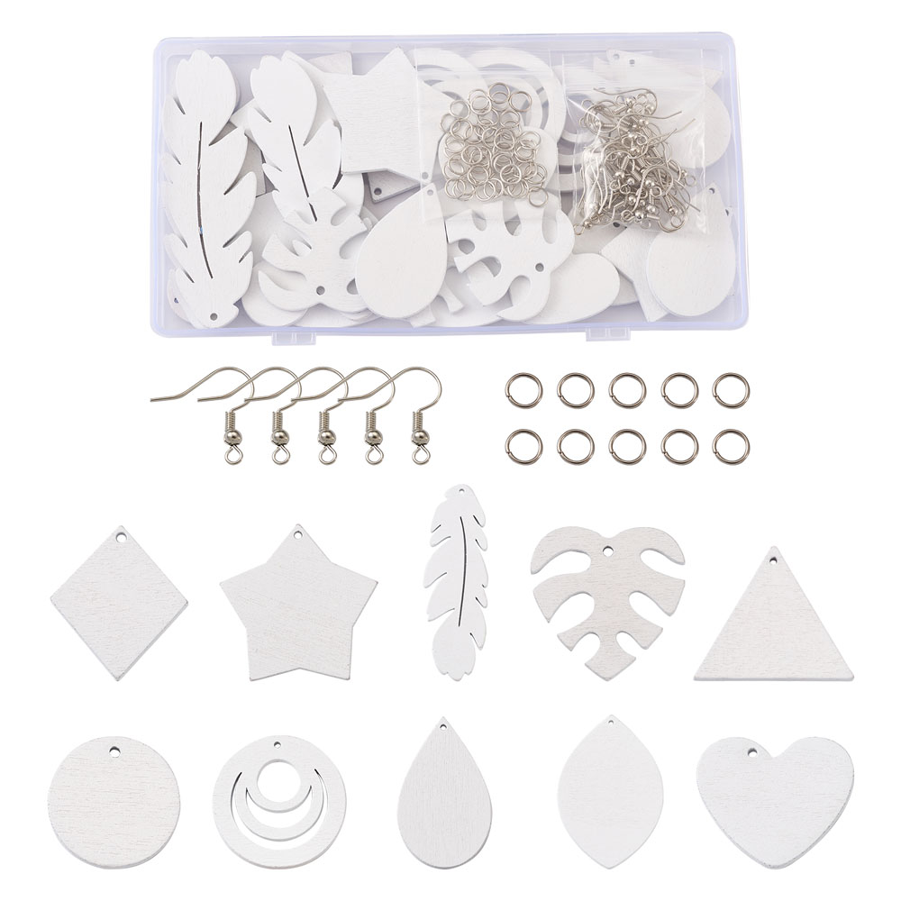 20pcs/Set DIY Dangle Earring Making Kits with Spray Painted Wood Pendants and Brass Earring Hooks