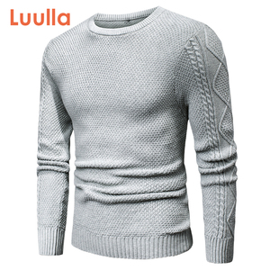 Luulla Men 2020 Spring Casual 100% Cotton Warm Sweater Pullovers Men Autumn Fashion 3D Geometric Soft Sweater Jumpers Men Plus