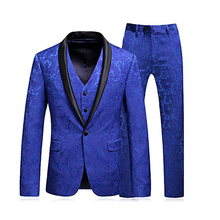 Mans-Suit Wear Jacket Prom-Dress Wedding Blue for Party Best Groom Three-Pieces