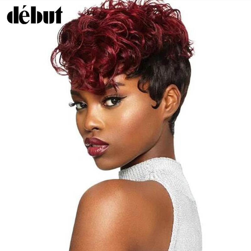 Debut Loose Curly 100% Human Hair Wigs For Black Women Remy Brazilian Short Human Hair Wigs Pixie Cut Curly Wigs Cheep Wigs