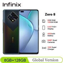 Global Version Infinix Zero 8 6.85''FHD+ 8GB 128GB 90Hz FullScreen 64MP Quad Camera 4500mAh 33W Super Charger OTA Mobile Phone