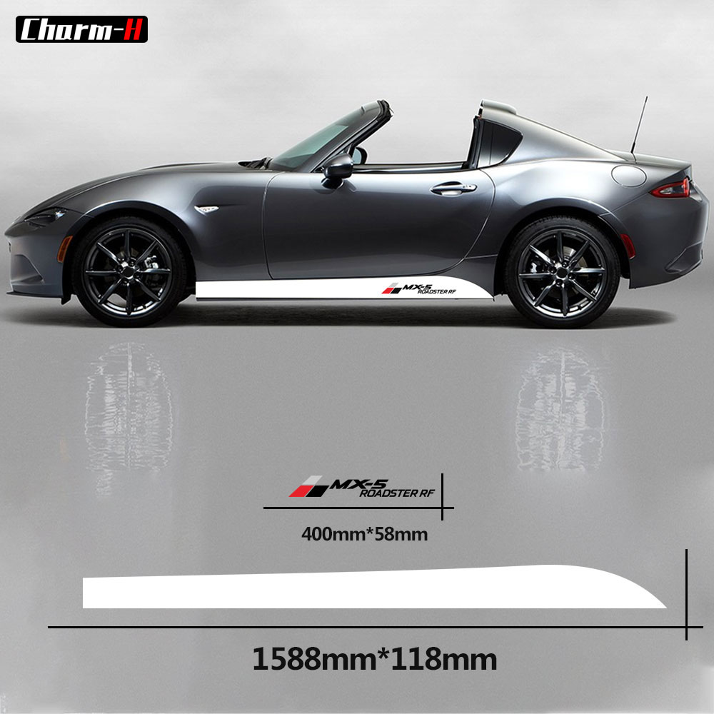 2pcs Car Styling Side Skirt Stickers DIY Racing Stripes Decals Decoration for <font><b>Mazda</b></font> <font><b>MX</b></font>-<font><b>5</b></font> Roadster <font><b>RF</b></font> Accessories image