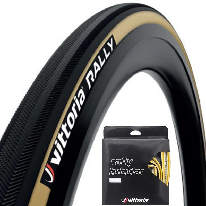Vittoria Rally Tubular Road Bike Tire 700 x 25mm Black with White Casing 220 TPI