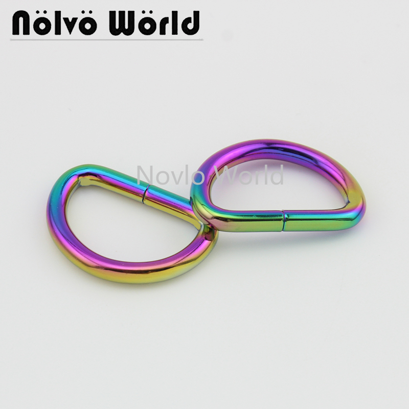 Wholesale 500pcs, Inner Width 32*19mm 1-1/4 Inch, Metal D Ring  Iron Wire Circle Ring Handbag Purse Opened D Buckle