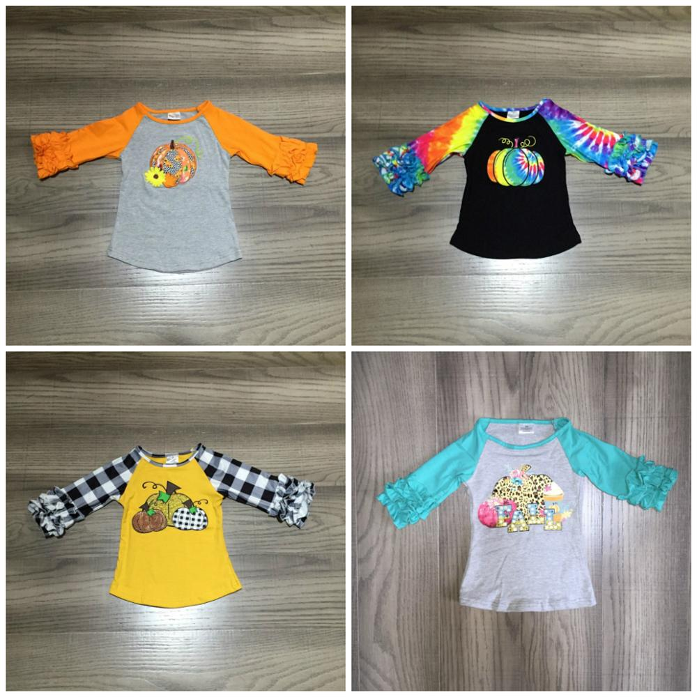 Girlymax Fall Halloween Tie dyed plaid leopard pumpkin cotton top icing sleeve t-shirt baby girls raglans boutique kidswear 1
