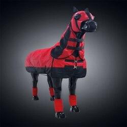 Ветрозащитная одежда для лошадей, съемная одежда с дизайном «Лошадь», коврик с головным чехлом и леггинсами