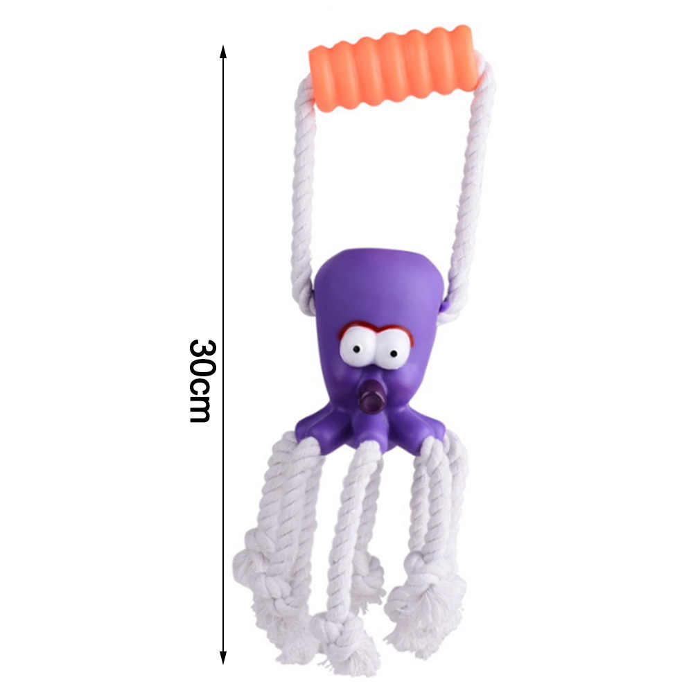 Octopus-vormige Geluid Speelgoed Hond PVC Handvat voor Verveling Zachte bijtvast Chew Touw Knopen Speelgoed voor puppy Pet Kleur willekeurige