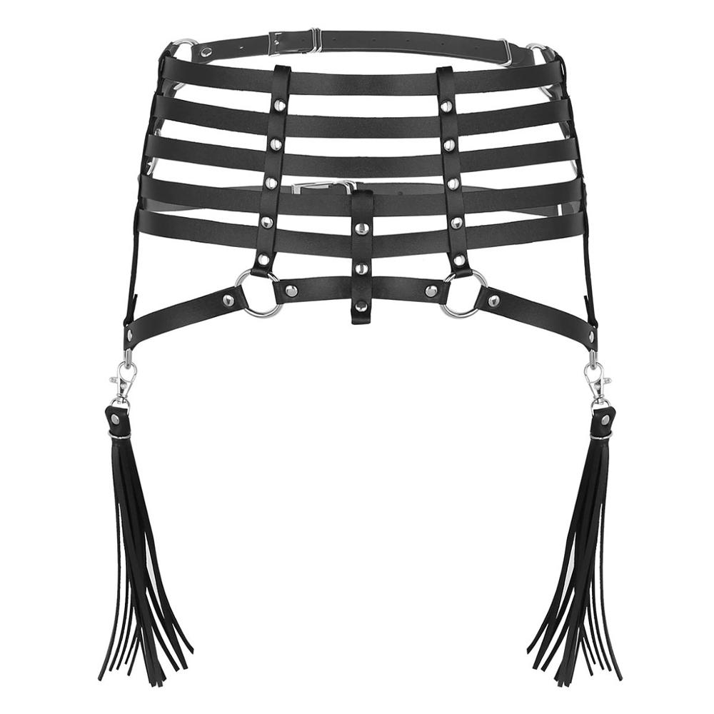 TiaoBug Women Punk Faux Leather Harness Body Caged Belt with Metal Tassel Chain