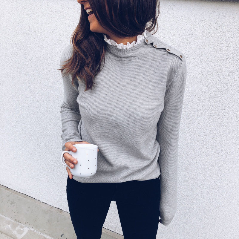Lace Patchwork Ruffles O Neck Shoulder Buckle Elegant Pullover Autumn Winter Knit Sweater Women Grey White Casual Tops Female